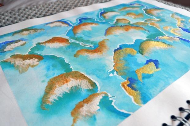 coral textile print
